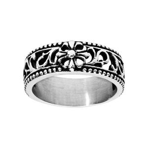 Bague en acier anneau ajourée avec motif antique patiné - Vue 1