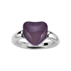 Bague en acier avec oeil de chat violet en forme de coeur - Vue 1