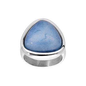 Bague en acier avec pierre naturelle Jade bleue - Vue 1
