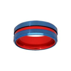 Bague en acier et aluminium bleu filet rouge et interieur rouge - Vue 1