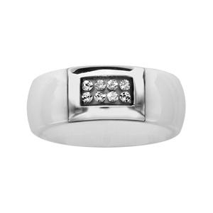 Bague en acier et céramique blanche avec pavé orné de cristal - Vue 1