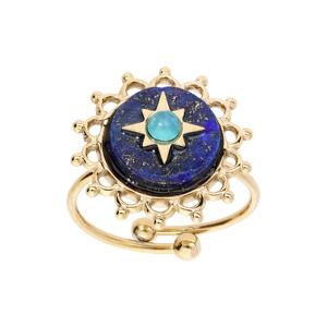 Bague en acier et PVD jaune ronde contour dentelé avec étoile sur fond bleu nuit réglable - Vue 1