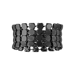 Bague en acier et PVD noir cotte de maille à pastilles rondes souple - Vue 1