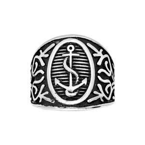 Bague en acier large ovale avec motif ancre marine - Vue 1