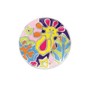 Bague en acier plateau rond avec motif végétaux colorés - Vue 1