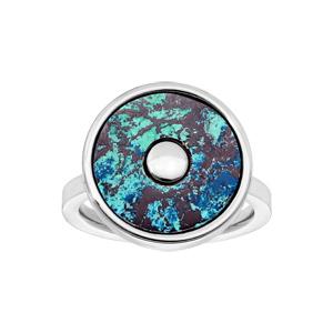 Bague en acier ronde avec pierre chrysocolle - Vue 1