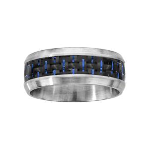 Bague en acier satiné avec bande quadrillée noir au milieu et fils bleus - Vue 1
