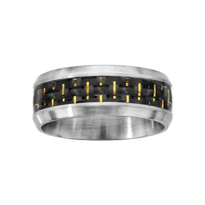 Bague en acier satiné avec bande quadrillée noir au milieu et fils dorés - Vue 1