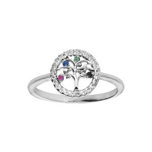 Bague en argent rhodié avec arbre de vie multi couleurs contour oxydes blancs sertis - Vue 1