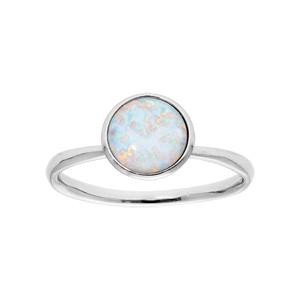 Bague en argent rhodié avec opale blanche ronde véritable - Vue 1