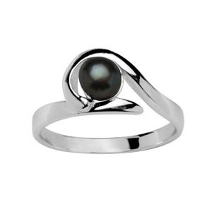 Bague en argent rhodié avec perle de culture noire de 4,5mm entourée d\'un brin lisse - Vue 1