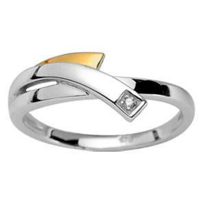 Bague en argent rhodié 1 brin superposé à l\'anneau et orné d\'1 diamant 0,02 carats et petit brin en or - Vue 1