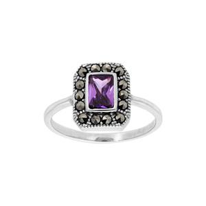Bague en argent rhodié collection joaillerie oxyde violet et contour Marcassite - Vue 1