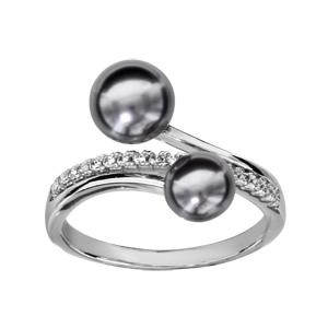 Bague en argent rhodié demi-rail d\'oxydes blancs sertis et 2 brins avec perles grises synthétiques aux extrémités - Vue 1