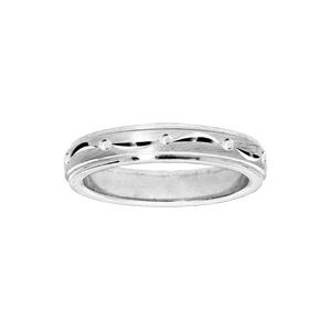 Bague en argent rhodié diamantée largeur 4mm - Vue 1