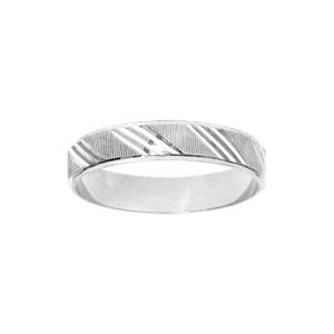 Bague en argent rhodié diamantée striée largeur 4mm - Vue 1