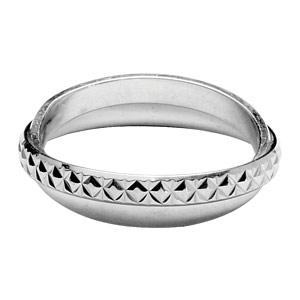 Bague en argent rhodié double anneaux : 1 anneau brillant et 1 anneau ciselé en 3mm - Vue 1