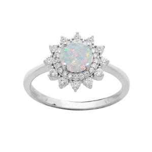 Bague en argent rhodié étoile avec Opale blanche contour oxydes blancs sertis - Vue 1