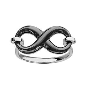 Bague en argent rhodié forme infini en céramique noire - Vue 1