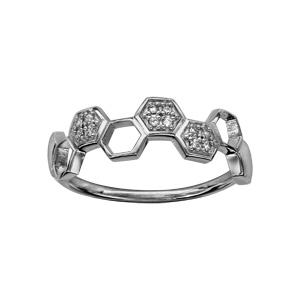 Bague en argent rhodié hexagones sur le demi-tour certains ajourés et les autres avec oxydes blancs sertis - Vue 1