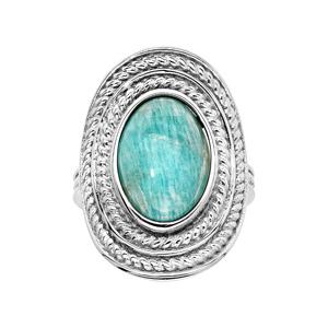Bague en argent rhodié ovale avec pierre Amazonite véritable - Vue 1