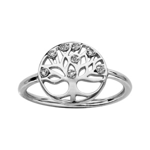 Bague en argent rhodié rond avec motif arbre de vie découpé et orné d\'oxydes blancs - Vue 1