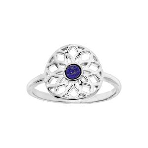 Bague en argent rhodié ronde ajourée avec Lapis Lazuli véritable - Vue 1
