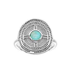 Bague en argent rhodié ronde motif géometrique avec Amazonite véritable - Vue 1