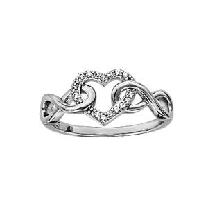 Bague en argent rhodié symboles infini lisses emmaillés avec 1 coeur évidé orné d\'oxydes blancs sertis - Vue 1