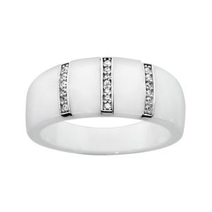 Bague en céramique blanche avec 3 barrettes alignées en argent rhodié et oxydes blancs micro-sertis - Vue 1