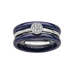 Bague en céramique bleu 3 anneaux,  2 anneaux en céramique bleu nuit et 1 anneau central en argent rhodié, ornés d\'un solitaire avec oxydes blancs sertis clos - Vue 1