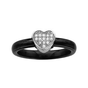 Bague en céramique noire avec coeur en argent rhodié pavé d\'oxydes blancs micro-sertis - Vue 1