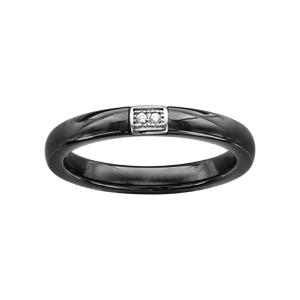 Bague en céramique noire avec élément en argent orné de deux oxydes blancs sertis - Vue 1