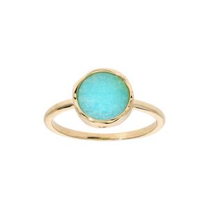 Bague en plaqué or anneau simple avec Amazonite véritable forme irrégulière - Vue 1