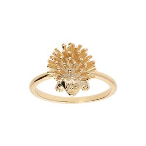 Bague en plaqué or anneau simple avec hérisson - Vue 1