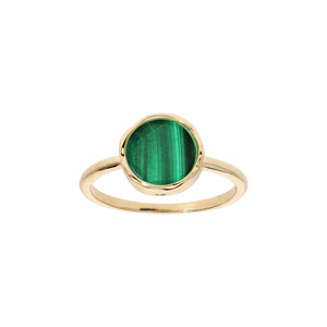 Bague en plaqué or anneau simple avec Malachite véritable forme irreguliere - Vue 1