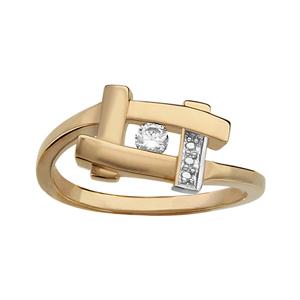 Bague en plaqué or carré en barrettes dont 1 orné d\'oxydes blancs et 1 oxyde blanc au centre - Vue 1
