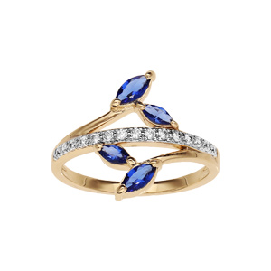 Bague en plaqué or collection joaillerie feuillage bleu nuit et rail d\'oxydes blancs sertis - Vue 1