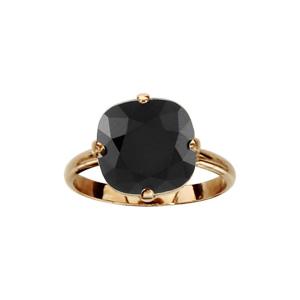 Bague en plaqué or collection joaillerie gros oxyde carré noir serti 4 griffes - Vue 1