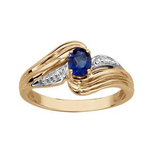 Bague en plaqué or collection joaillerie oxyde ovale bleu au centre et brins courbés autour - Vue 1