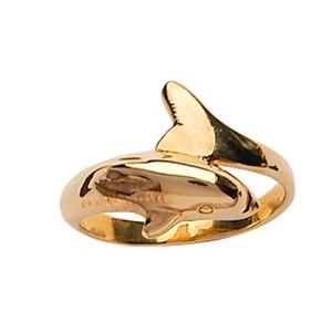 Bague en plaqué or dauphin qui fait le tour