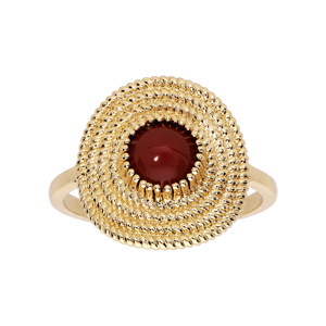 Bague en plaqué or ethnique ronde avec pierre rouge - Vue 1