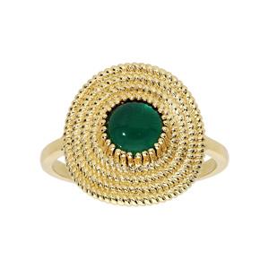Bague en plaqué or ethnique ronde avec pierre verte - Vue 1