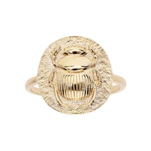 Bague en plaqué or ethnqiue ronde motif antique scarabée - Vue 1