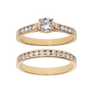 Bague en plaqué or grande taille double anneau avec rail pierres blanches et 1 solitaire blanc - Vue 1