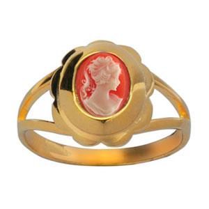 Bague en plaqué or petit Camée rose vif contour pétales - Vue 1