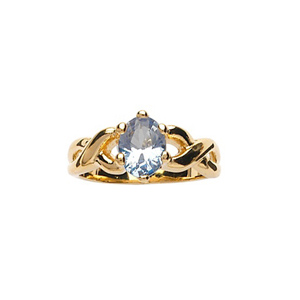 Bague en plaqué or torsadée sur le dessus avec pierre sertie bleu ciel - Vue 1
