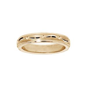 Bague en vermeil diamantée largeur 4mm - Vue 1