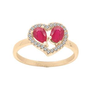 Bague en vermeil forme coeur avec Rubis véritables et contour Topazes blanches serties - Vue 1