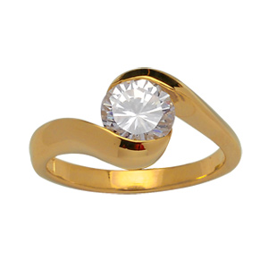 Bague plaqué or pierre ronde blanche